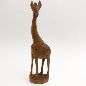 Vtg Hand Carved Wooden Giraffe Midcentury Decor